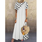 Patchworkowa sukienka w kropki z krótkim rękawem Holiday Bohemia Maxi dla kobiet