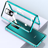 Bakeey for Xiaomi Redmi Note 9 / Redmi 10X 4G Case 2 in 1 with Lens Protector Magnetic Flip Double-Side Tempered Glass Metal Full Cover Protective Case