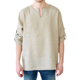Mens Vintage Cotton Long Sleeve Casual Loose T-shirts Tops