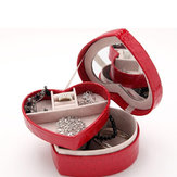 PU Leather Heart Shape Necklace Ring Earrings Jewelry Organizer Box