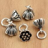 S925 5szt Sterling Silver Lotus Beads Charm DIY Jewelry Ustawienia Akcesoria