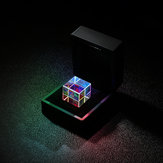 20mm/23mm Optical Glass Crystal Combiner Prism X Cube RGB Dispersion Splitter w/ Blue Shinning Box