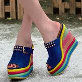 Femmes Rivet Rainbow Colorful Boucle Peep Toe Summer Beach Wedge Platform Sandales