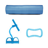 3Pcs Yoga Mats Pedal Tension Rope Yoga Ring Indoor Exercise Fitness Training Kit