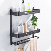Punch-Free Bathroom Shelf Toilet Storage Shelf Wall Hanging Toilet Restroom Black Towel Rack Rod with Hook