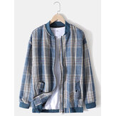 Mens Plaid Baseball Collar Zip Front Casual Jacket With Buttoned Pocket