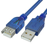 GCX USB Male to Female Extension Cable Data Cable USB2.0 Core Wire Transparent Blue Data Cable for Computer Tablet