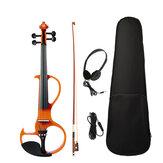 NAOMI 4/4 Full-size elektrische viool Fiddle 4-snarige viool met ebbenhouten fittingen, draagtas, audio-oortelefoon, kabel, strijkstok