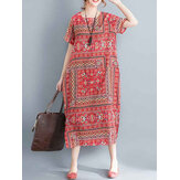 Ethnic Women Printing Cotton Vintage Dress