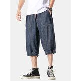 Mens Simple Multi Pocket Drawstring Casual Jeans