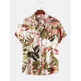 Hommes Color Block Floral Print Turn Down Collar Hawaii Holiday Chemises à manches courtes