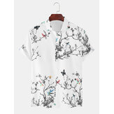 Mens Casual Tree & Birds Print Lapel Collar Short Sleeve Beach Holiday Shirts