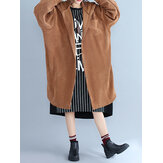 Casual Women Loose Hooded Corduroy Blouse Coat