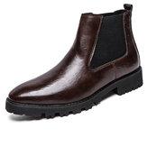 Erkek Vintage Elastik Slip-on İş Deri Ayak Bileği Chelsea Botlar