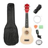 21 İnç Burlywood Soprano Ukulele Uke Hawaii Gitar 12 Taşıyıcı Tuner Kayışı ile Fret Çanta