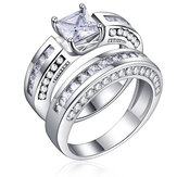 2stuks/setClassicCubic Zirconia Womens Ring bruids bruiloft platina Band vingerringen voor vrouwen