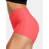 Women Solid Color V-Waist Elastic Sports Yoga Shorts