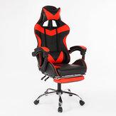Ergonomis Gaya Balap Tinggi Kembali Berbaring Kursi Kantor Adjustable Berputar Angkat Kursi PU Kulit Kursi Gaming Kursi Meja Laptop dengan Pijakan Kaki