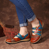 SOCOFY Hook Loop Genuine Leather Pattern Flat Sandals