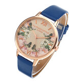 LVPAI Casual Fashion Landscape Pattern PU Leather Strap Women Wrist Watch Quartz Watch