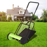 Hand Push Lawn Mower Manual Reel Lawnmower Grass Catch Garden Tool Manchine