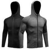 الرجال لياقة الجري التدريب الرياضة سترة طويلة الأكمام سستة عارضة هوديي معطف التجفيف السريع