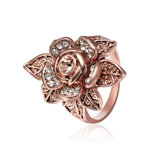 Champagne Gold Zircon Lifelike Flower Elegant Accessories Ring Rose Gold Rhinestone Ring