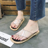 Women's flat slippers outdoor transparent face sandals