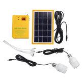 Sistema de gerador de painel solar portátil Home Kit LED luz USB carregador W / 2 lâmpadas