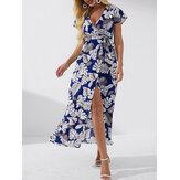 High Slit Tropical Print Belted Wrap V-neck Short Sleeves Maxi Dress