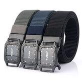 TUSHI Punch Free Automatic Buckle Breathable Nylon Waist Belts Tactical Belt Leisure Metal Press Buckle Belt Men's Waistband
