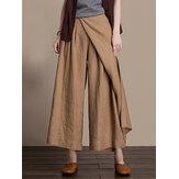 Mulheres casual plissado cor sólida bolso perna larga Calças