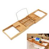Suporte de bambu para banheira Banheiro Bandeja Tablets Prateleira Suporte para leitura de livros