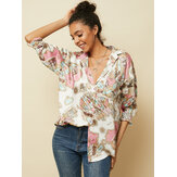 Casual Map Printing Lapel Long  Sleeve Loose Shirts For Women