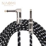 Cable de guitarra trenzado NAOMI 3M Línea de guitarra 6,35mm Conductor de bajo Cable de altavoz de efecto de guitarra para instrumentos eléctricos