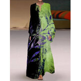 Plant Contrast Print V-neck Elastic Cuffs Casual Long Sleeve Maxi Dresses For Women