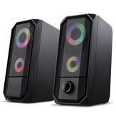 Golden Field M1 Wired Computer Speaker 10W Stereo Bass RGB Luminous USB 3.5mm Desktop Soundbar Multimedia Speaker
