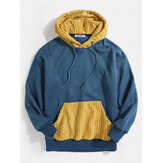 Mens ensamfärgade Patchwork Pocket Hoodies med dragsko