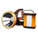 XANES® T6 Powerful Searchlight USB recarregável Super Bright Spotlight 30 ° ajustável para bicicleta com 8x18650 Bateria Power Bank
