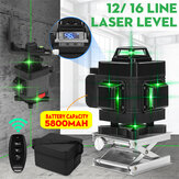 12/16 Line Green Light Laser Level Digital Self Leveling 360° Rotary Measure Tool