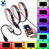 1 متر / 3M/5 متر بلوتوث التطبيق 5050 RGB LED قطاع ضوء شريط IP65 ضد للماء USB مصباح خلفية 5V