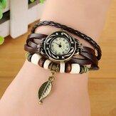 Moda estilo étnico Folha Padrão PU pulseira de couro mulheres pulseira relógio relógio de quartzo