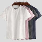 INCERUN Summer Short Sleeve Linen T Shirt Striped Casual Tops Henley Shirts