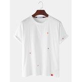 Cotton Star Stickerei Rundhalsausschnitt Kurzarm T-Shirts