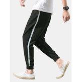 Heren effen kleur trekkoord elastische enkel casual broek met zak
