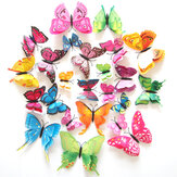 12PCS 7 kleuren 3D Dubbel Layer Butterfly Muur Sticker Koelkast Magneet Home Decor Art Applique