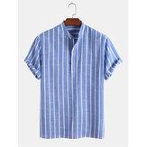 メンズカジュアル100%コットン通気性スタンドカラーシャツ