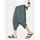 Color sólido para hombre Estilo breve Casual Cordón suelto Cintura Harem Pantalones
