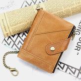 Mannen lederen multi-slot retro zakelijke mode lederen kaarthouder portemonnee met ketting
