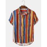 Original              Mens Colorful Striped Print Short Sleeve Summer Casual Shirts
